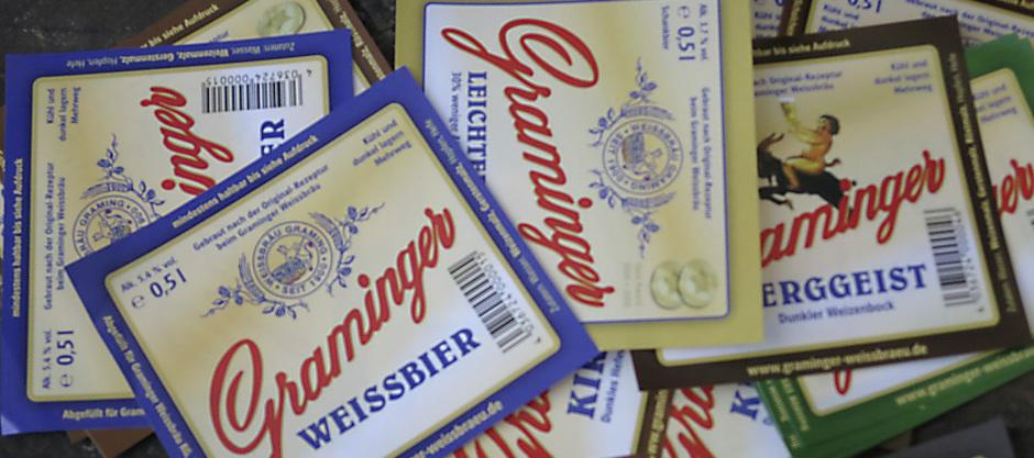 Bier Etiketten Graminger Weissbräu Privatbrauerei Braugasthof Bayern Altötting Graming
